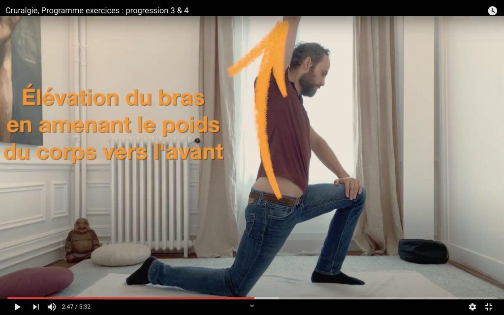 Variante de l'exercice anti douleur cruralgie gauche